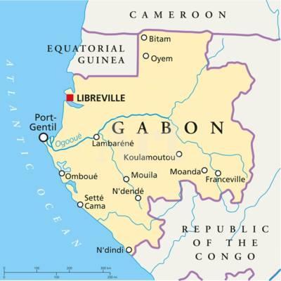 Gabon World Map.Gabon Political Map Art Print By Peter Hermes Furian Art Com
