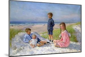 Erik, Else, Ove and Birthe Schultz on the Beach, 1919 by Gabriel Jensen