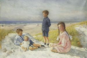 Erik, Else, Ove and Birthe Schultz on a Beach, 1919 by Gabriel Oluf Jensen
