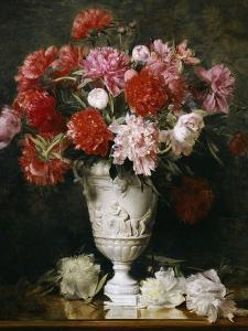 Peonies in a Vase on a Table by Gabriel Schachinger