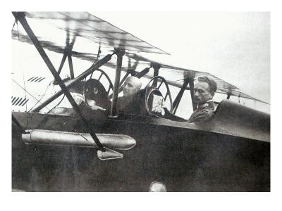 Gabriele d'Annunzio Flying with his Pilot to Drop Leaflets over Vienna, 1918--Giclee Print