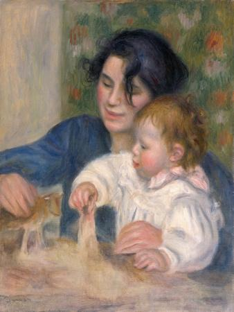 The child at the chest maternity by Pierre-Auguste Renoir Giclee Repro on Canvas