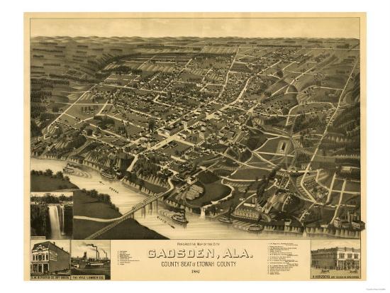 Gadsden, Alabama - Panoramic Map-Lantern Press-Art Print