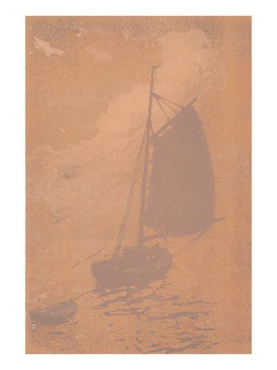 Gaff-Rigged Sailboat in Mist--Art Print