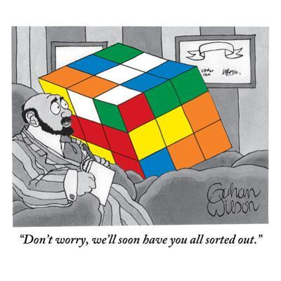 """""""Don't worry, we'll soon have you all sorted out."""" - New Yorker Cartoon by Gahan Wilson"""