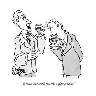 """It tastes and smells just like a glass of wine!"" - New Yorker Cartoon by Gahan Wilson"