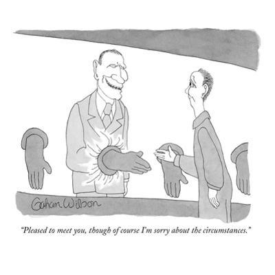 """Pleased to meet you, though of course I'm sorry about the circumstances."" - New Yorker Cartoon by Gahan Wilson"