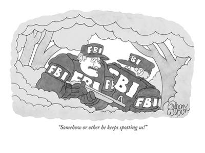 """""""Somehow or other he keeps spotting us!"""" - New Yorker Cartoon by Gahan Wilson"""