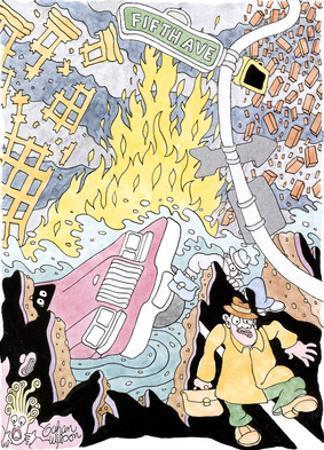 """Still, you gotta admit crime is down"" - New Yorker Cartoon by Gahan Wilson"