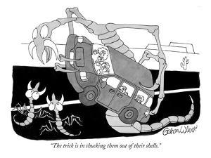 """""""The trick is in shucking them out of their shells."""" - New Yorker Cartoon by Gahan Wilson"""