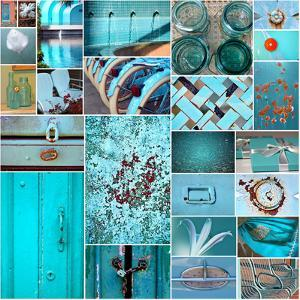 Rustic Teal Collage by Gail Peck
