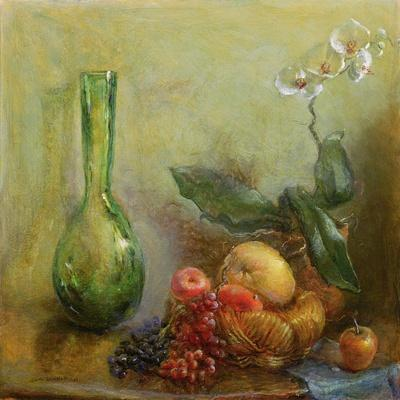 Orchid with Basket of Fruit and Green Vase
