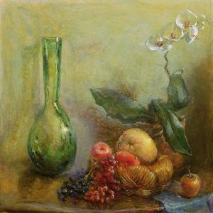 Orchid with Basket of Fruit and Green Vase by Gail Schulman