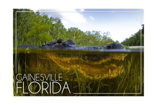 Gainesville, Florida - Alligator Underwater-Lantern Press-Art Print
