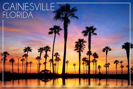 Gainesville, Florida - Lagoon and Sunset-Lantern Press-Wall Mural