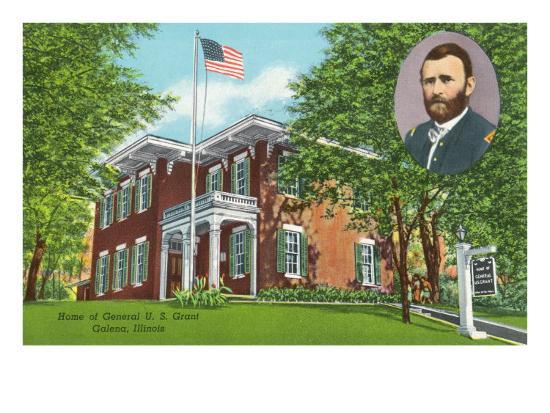 Galena, Illinois - Exterior View of the General Ulysses S. Grant's Home, c.1955-Lantern Press-Art Print
