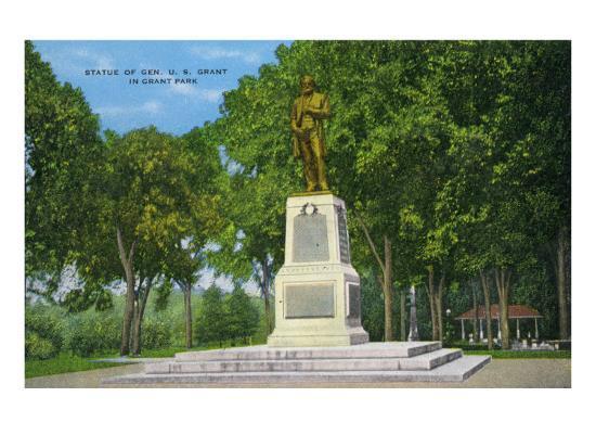 Galena, Illinois, View of the Ulysses S. Grant Statue in Grant Park-Lantern Press-Art Print