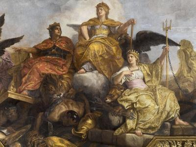 """Galerie des Glaces : plafond, compartiment central """"-Charles Le Brun-Giclee Print"""