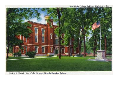 Galesburg, Illinois, Knox College View of Old Main-Lantern Press-Art Print