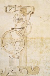 Drawing of Galileo's Pendulum Clock, Manuscript by Galileo Galilei (1564-1642), 85 Gal, F 50 R by Galileo Galilei