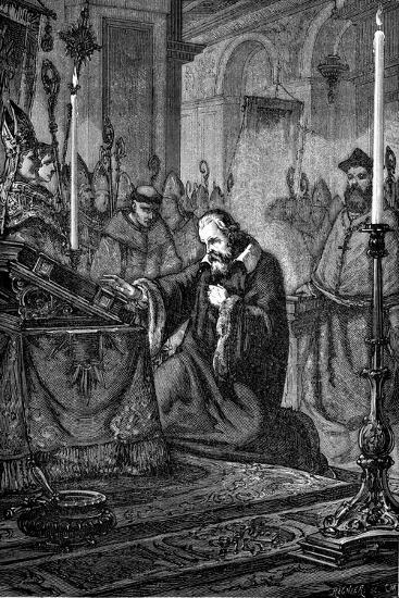 Galileo Galilei, Italian Astronomer and Mathematician Recanting, 1633--Giclee Print