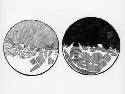 Sketch of the Moon by Galileo Galilei, C1635 by Galileo Galilei