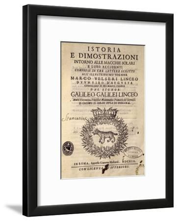 Title Page of History and Demonstrations Concerning Sunspots and their Properties