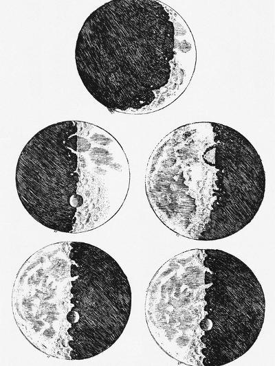 Galileo's Drawings of the Phases of the Moon-Stocktrek Images-Photographic Print