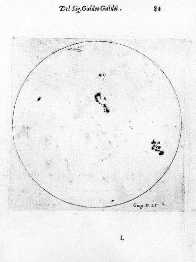 Galileo's Observation of Sunspots, 1613-Galileo Galilei-Giclee Print