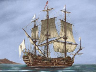 Galleon Saint Lucia. 17th Century. Coloured. Italy--Giclee Print