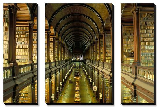 Gallery of the Old Library, Trinity College, Dublin, County Dublin, Eire  (Ireland) Canvas Art Set by Bruno Barbier | Art com