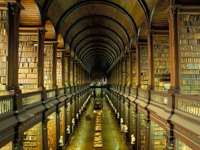 Gallery of the Old Library, Trinity College, Dublin, County Dublin, Eire (Ireland)-Bruno Barbier-Premium Photographic Print
