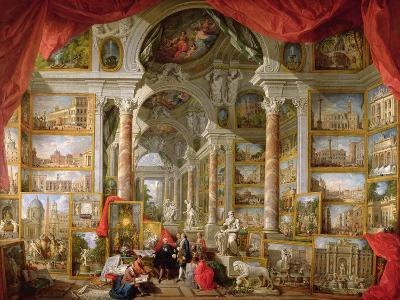 Gallery with Views of Modern Rome, 1759-Giovanni Paolo Pannini-Giclee Print