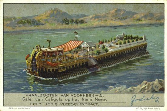 Galley of the Roman Emperor Caligula on Lake Nemi, Italy, 1st Century--Premium Giclee Print