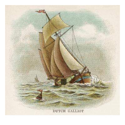 Galliot Used by Dutch Fishermen, Carrying a Full Spread of Sail--Giclee Print