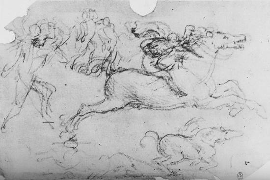 'Galloping Horseman and Other Figures', c1480 (1945)-Leonardo da Vinci-Giclee Print