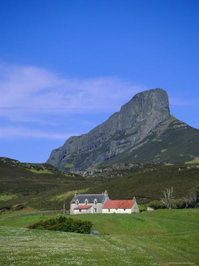 Galmisdale House and an Sgurr, Isle of Eigg, Inner Hebrides, Scotland, UK, Europe-Jean Brooks-Photographic Print