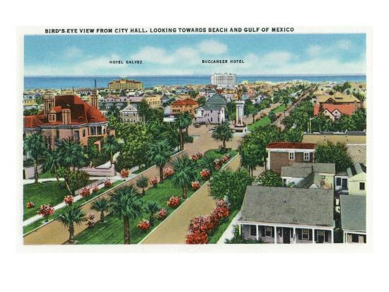Galveston, Texas - Aerial View from City Hall Towards the Beach and Gulf of Mexico, c.1947-Lantern Press-Art Print