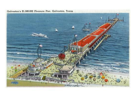 Galveston, Texas - Aerial View of Pleasure Pier and the Beach Front, c.1945-Lantern Press-Art Print