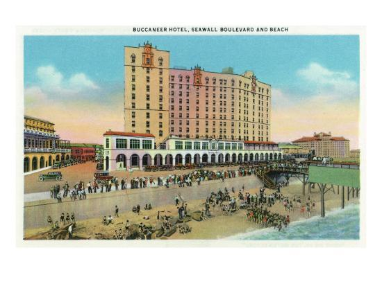 Galveston, Texas - Exterior View of the Buccaneer Hotel from Seawall Blvd and the Beach, c.1947-Lantern Press-Art Print