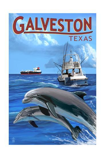 Galveston, Texas - Fishing Boat with Freighter and Dolphins-Lantern Press-Art Print