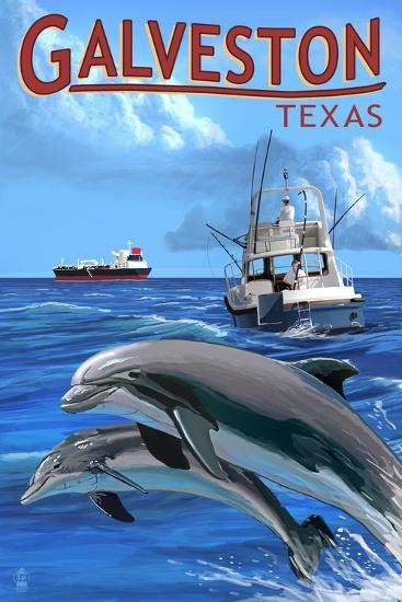 Galveston, Texas - Fishing Boat with Freighter and Dolphins-Lantern Press-Wall Mural