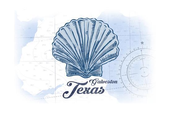 Galveston, Texas - Scallop Shell - Blue - Coastal Icon-Lantern Press-Art Print