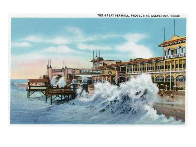 Galveston, Texas - View of the Great Seawall Protecting the City, c.1942-Lantern Press-Art Print