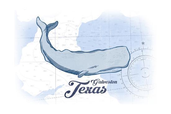 Galveston, Texas - Whale - Blue - Coastal Icon-Lantern Press-Art Print