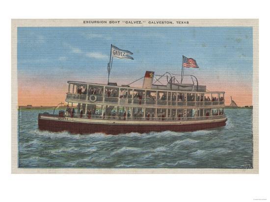 Galveston, TX - View of the Galvez-Lantern Press-Art Print