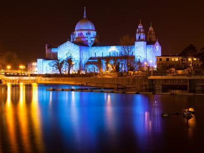 Galway Cathedral Lit Up Blue-rihardzz-Photographic Print