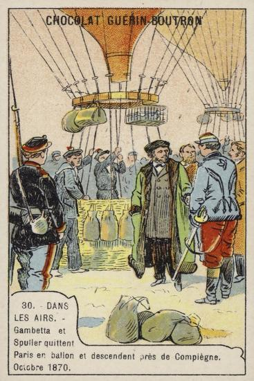 Gambetta and Spuller's Escape from the Siege of Paris by Balloon, October 1870--Giclee Print