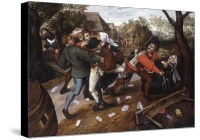 Gamblers Quarrelling-Pieter Brueghel the Younger-Stretched Canvas Print