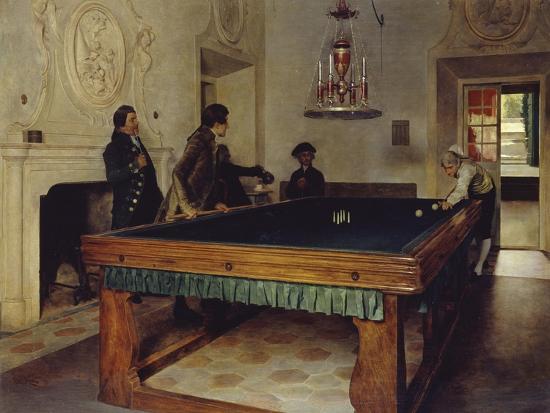 Game of Billiards, 1893-Tito Lessi-Giclee Print